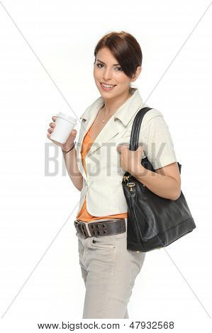 Businesswoman Holding A Coffee Cup In Her Hand