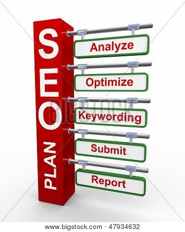 3D Concept Of Seo Search Engine Optimization Plan