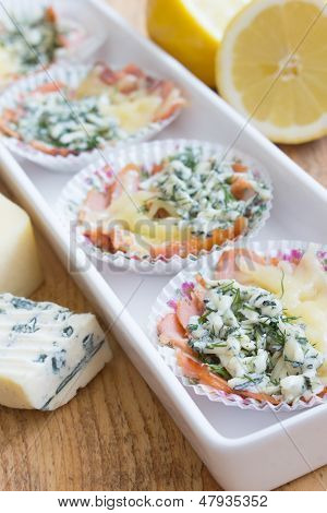 Snacks Made Of Cheese, Blue Cheese And Smoked Salmon