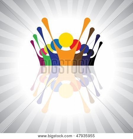 employee union protest or kids having fun together- simple vector graphic. This illustration can also represent children playingworkers demonstrationexcited peopleanimated peoplefestive mood poster