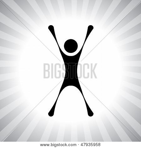 Person Jumping With Joy After Winning A Challenge- Simple Vector Graphic