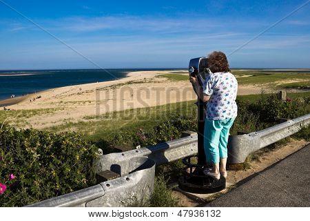 Woman Sight-seeing At A Cape Cod Beach