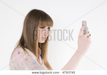 Female Model With Cellular Phone