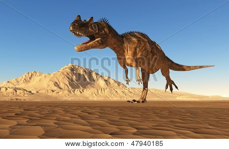 Giant dinosaur on a background blue sky