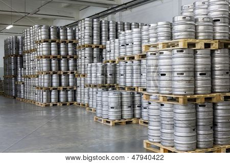 MOSCOW - OCT 16: Pallets of beer kegs in stock brewery Ochakovo on October 16, 2012 in Moscow, Russia. Ochakovo is largest Russian company beer and soft drinks industry without foreign capital.