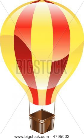 Shiny Hot Air Balloon Icon Illustration