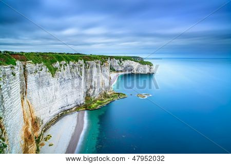 Etretat rock cliff and beach. Long exposure photography. Aerial view. Normandy France. poster