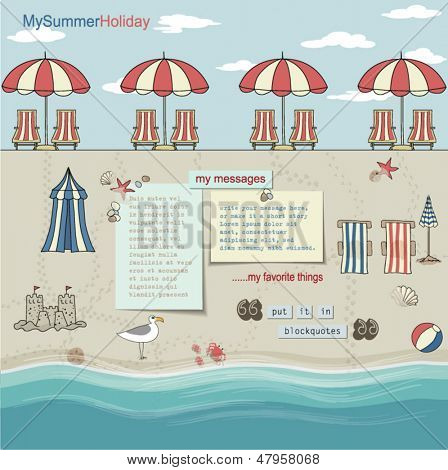 Rows of red/white umbrellas on a sandy beach by the sea, with lounge chairs, summer vacation accessories and sea treasures around pages for blog and web site layout, template