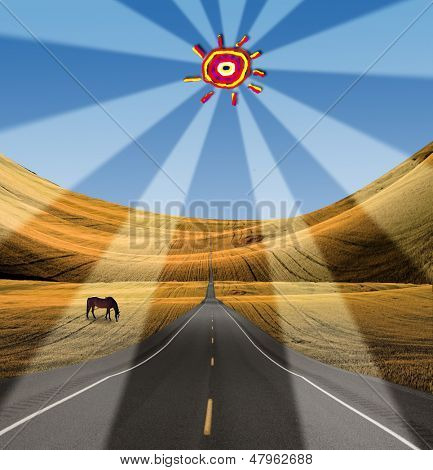 Road heads into distance with childs sun
