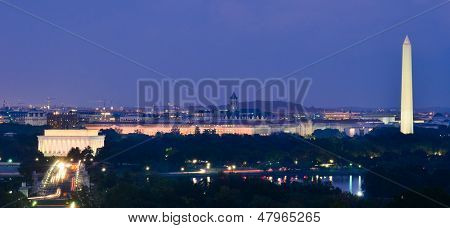 Washington DC cityscape at night including Lincoln Memorial, National Mall, Washington Monument and Arlington Memorial Bridge