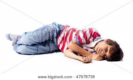 Child Sleeping, Isolated On White Background