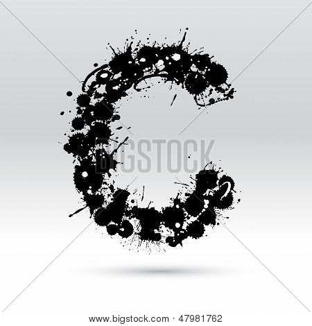 Letter C Formed By Inkblots