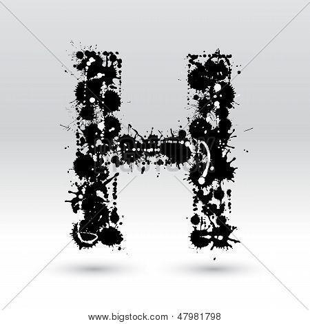 Letter H Formed By Inkblots