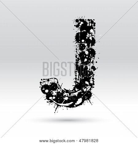 Letter J Formed By Inkblots