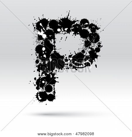 Letter P Formed By Inkblots