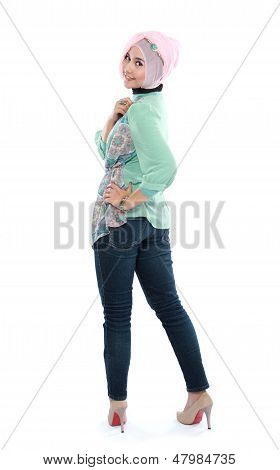Standing Young Woman In Head Scraf Action
