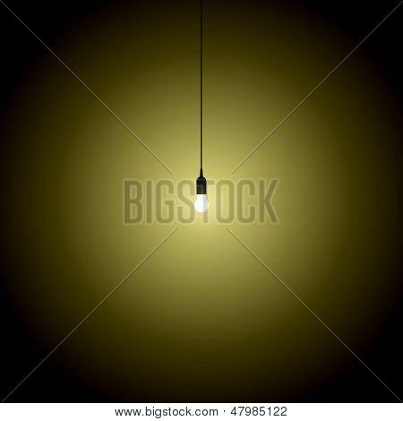 Hanging Bulb Lights Turned Over On Black Background