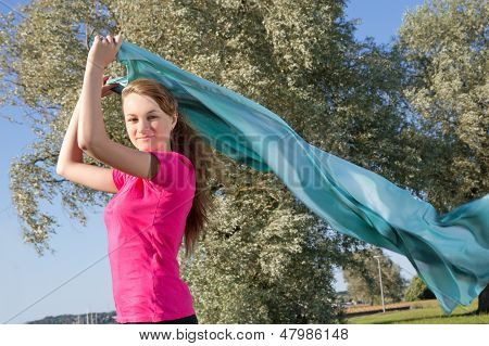 Girl In Park With Shawl