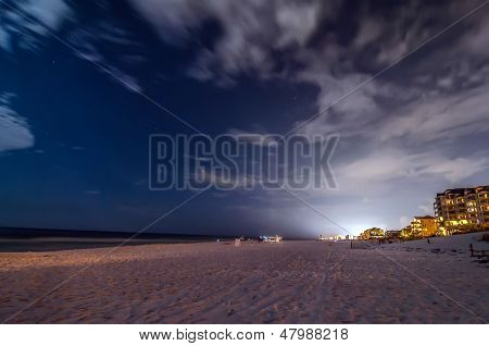Night Scenes At The Florida Beach With Super Moon Brightness