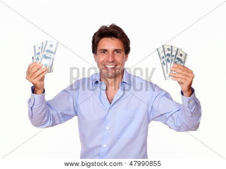 Smiling Fashionable Man Holding Cash Money