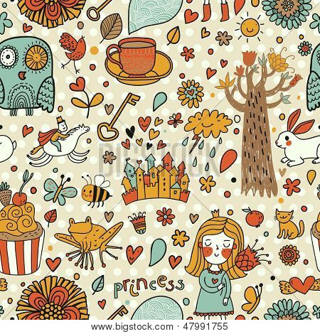 Cute fairytale seamless pattern with little princess, horse, magic tree, castle,  frog, key, cake. Sweet vector background can be used in birthday design, children bedroom.