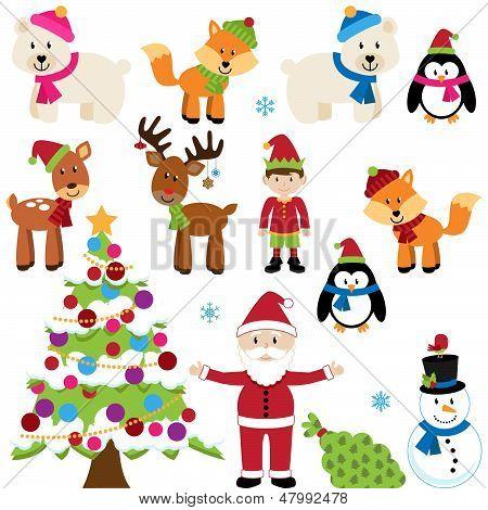 Vector Set of Christmas Animals, Santa Claus and Tree