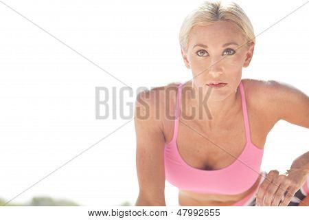 Determined Blonde Athlete