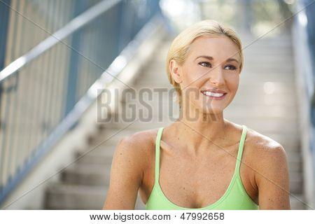 Beautiful Woman On Steps