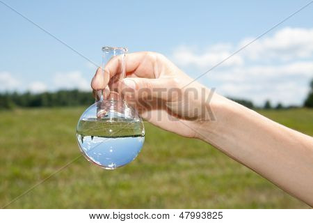 Water Purity Test, liquid in laboratory glassware poster