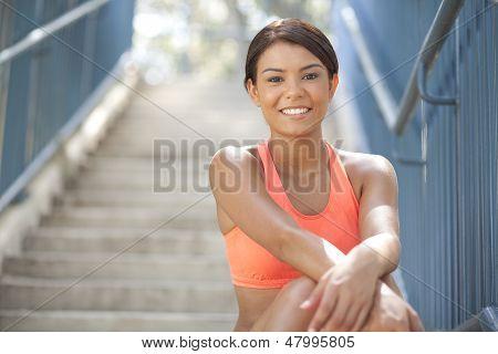 Beautiful Athlete Smiling At Camera