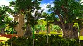 African savannah with lush and vibrant vegetation by the pool poster