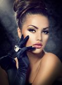 Beauty Fashion Glamour Girl Portrait. Vintage Style Girl Wearing Gloves. Jewellery. Jewelry. Glamor Hairstyle and Make-up. Diamond Ring. Retro Woman Portrait poster
