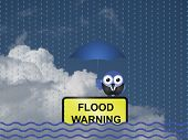 Comical flood warning sign against a cloudy blue sky poster