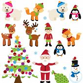 Vector Set of Christmas Animals, Santa Claus and Tree poster