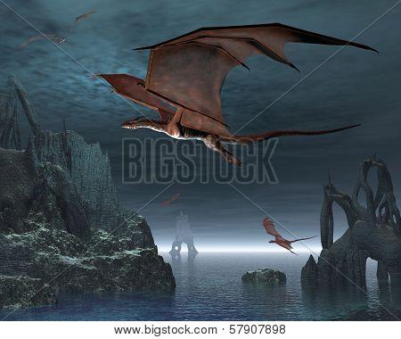 Red dragons flying over strange islands in a calm moonlit sea, 3d digitally rendered illustration poster