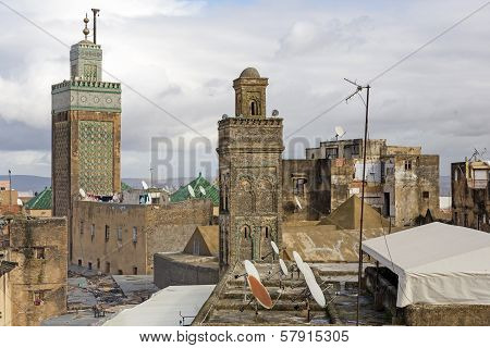 Two mosques in the city of Fes, Morocco