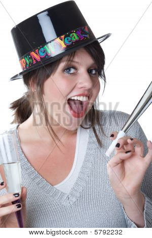 Young woman celebrates New Years; isolated on white