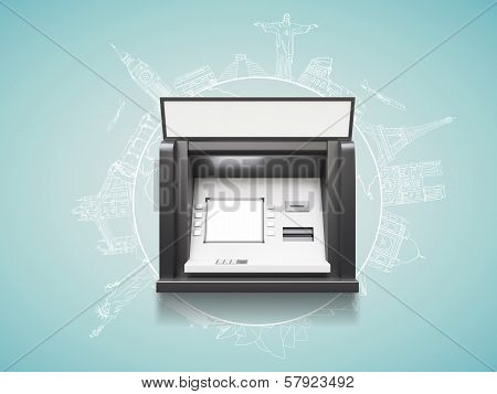 atm with blank display travel concept, close up poster