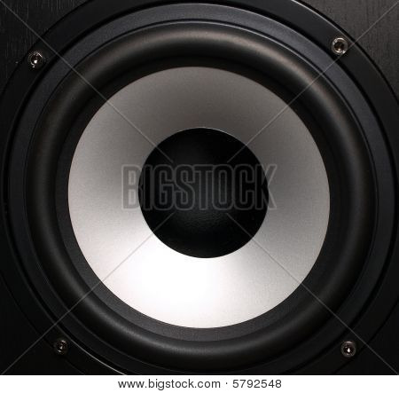Black Loudspeaker With A Silver Woofer