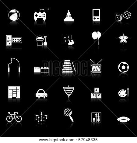 Toy Icons With Reflect On Black Background