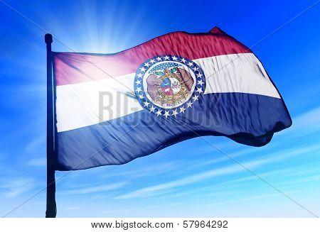 Missouri (USA) flag waving on the wind