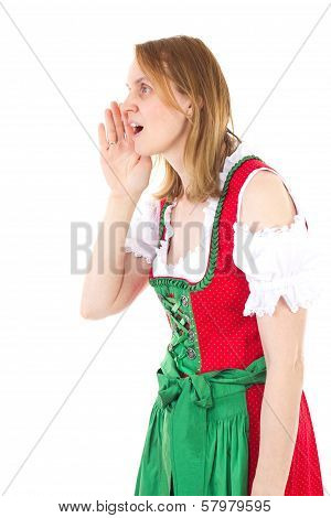 Bavarian Woman In Red Dirndl Is Yodelling