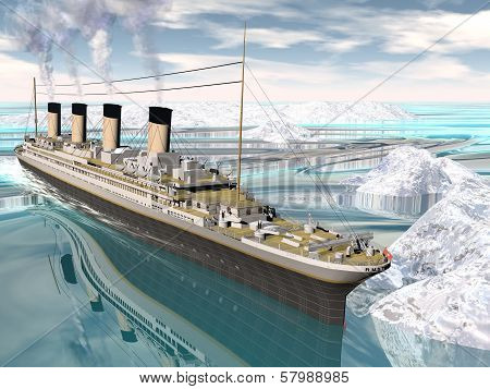 Famous Titanic ship floating among icebergs on the water by cloudy day poster