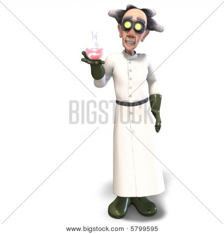 3D rendering of a mad scientist with dangerous fluid with clipping path and shadow over white poster