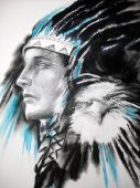 art Illustration indian chief with eagle artwork by author poster