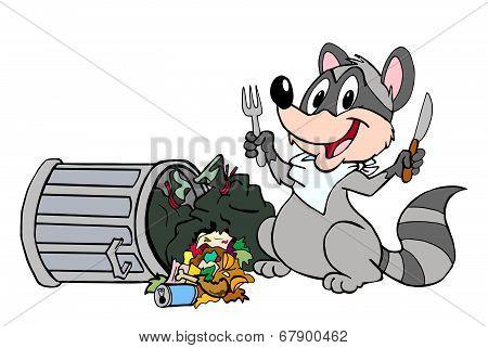 Raccoon Eating Garbage