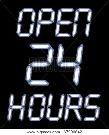 A Digital Open 24 Hours Sign With White Glow