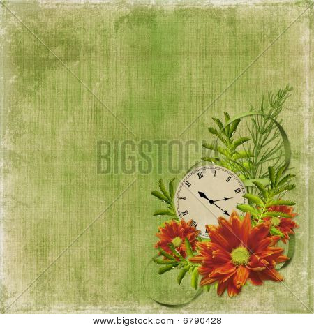 White Frame With Flowers And Clock On The Abstract Background