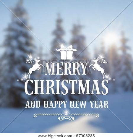 Christmas vintage card with the defocused snow-covered fir-trees in forest. Vector illustration.