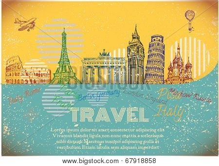 vintage background with sights of Europe. Vector Illustration.